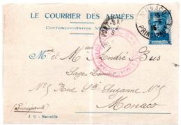 """FRANCE -- LAC En Franchise Militaire ENTIER JOFFRE """" Le Courrier Des Armées """"  MONACO -- Généalogie BUS André Et Albert - Official Stationery"""