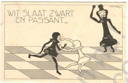 J. Rotgans, J. Schachfiguren Personifiziert WIT SLAAT ZWART EN PASSANT Chess Humor échecs Minor Invisible Tear Bottom - Chess