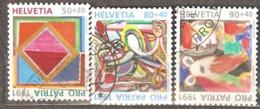 Switzerland: Pro Patria, 3 Used Stamps From A Set, Contemporary Art, 1991, Mi#1446, 1448-1449 - Pro Patria