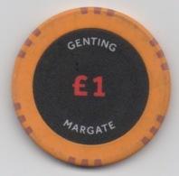 1 Jeton De Casino Genting MARGATE Kent Angleterre £1 (2 Côtés Identiques) - Casino