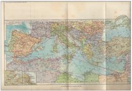 1942 WWII Era Italian Mediterranean Sea - Box Valletta Malta Alger Naval Routes Map - Carte Geographique
