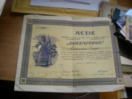 Vrsac Actie Institutului De Economii Si Credit Ca Societate Pe Actii Luceaferul 1927 Zavod Za Stednju I Kredit - Serbia