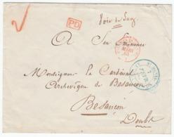 Reunion 'ST. DENIS ILE REUNION' En Bleu Lettre Enveloppe 1863 PD 'COLONIES FR V SUEZ' En Rouge Pour Besançon (s24) - Marcophilie (Lettres)