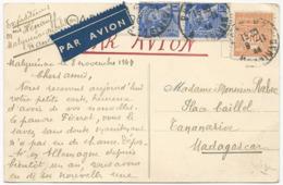 CARTE POSTALE PAR AVION 1944 POUR MADAGASCAR AVEC 3 TIMBRES TYPES MERCURE / ARC DE TRIOMPHE - France