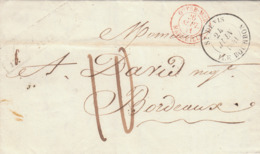 Reunion 'St Pierre' Encadrée 'ST. DENIS ILE BOURBON' Lettre LAC 1841 'OUTREMER MARSEILLE' En Rouge Pour BORDEAUX (s25) - Storia Postale