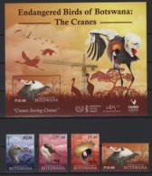 Botswana (2019) - Set + Block  -   /  Fauna - Endangered Birds - Oiseaux - Vogel - Cranes - - Cranes And Other Gruiformes