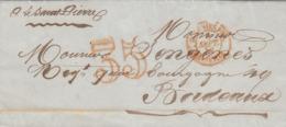 Senegal Lettre LAC De Gorée 1852 'COLONIES FR MARSEILLE' & Taxation '35' En Rouge Pour BORDEAUX (s26) - Storia Postale