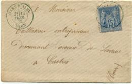 1298) France N°90 Sur Enveloppe D'Albi Pour Castres (Tarn 81) Cachet Bleu De La Gare D'Albi Du 13.02.1879. Superbe - Poststempel (Briefe)