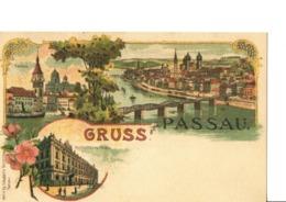 "GRUSS Aus PASSAU. - Verl.v.Gg.Schubert's Nachfolger.  Rathaus ... Très Belle Carte ""art Nouveau"". Voir SCANS Recto-verso - Passau"