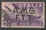 TRIESTE A   50 LIRE POSTA AEREA SOVRASTAMPA SU DUE RIGHE USATO - 7. Trieste