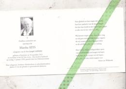 Martha Seys-Lannoo, Geboren Koekelare 1911, Overleden Assebroek 1998 - Décès