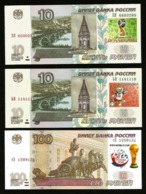* Russia 10 100 Rubles ! Set 3 Notes 2018 FIFA World Cup Football ! UNC ! - Russland