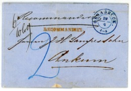 """""""OSNABRÜCK"""" Gr. Zweikreiser Blau Recobrief Nach Ankum Taxe 2 Ggr. Von 1857 - Inhalt - Hannover"""