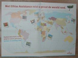 Poster/affiche Ethias (2008) Wereldkaart - Publicité