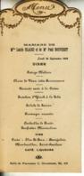 Menu :30 Septembre 1929, Repas De Mariage - Menus