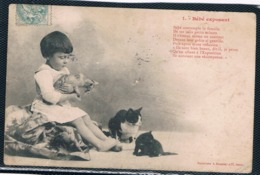 3 Chats Et Fillette-cats And Child-  Poesjes Met Meisje -mädchen Katzen - Gatti