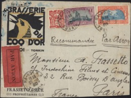 Enveloppe Illustrée Brasserie Du Coq D'Or Tonkin Frasseto Et Sice Par Avion YT Indochine 132 140 143 CAD Hanoi 26 11 30 - Indochine (1889-1945)