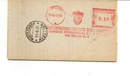 1942 EMA Affrancatura Meccanica Rossa Freistempel Avellino Confederazione Fascista Industriali Stemma Con Aquila - Affrancature Meccaniche Rosse (EMA)
