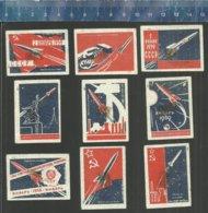 ROCKET RAKET RAKETE CONQUEST OF SPACE VEROVERING VAN DE RUIMTE CONQUÊTE DE L'ESPACE RUIMTEVAART  Matchbox Labels URSS - Matchbox Labels