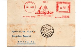 1939 EMA Affrancatura Meccanica Rossa Freistempel Torino AVIGDOR Fabbrica Tessuti Tappeti Persiani Annodati - Affrancature Meccaniche Rosse (EMA)