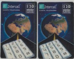 Lot De 2 Cartes Prépayées Différentes - INTERCALL   -  Prépaid Card  - (valeur Et/ou Verso  Différent) - Andere Voorafbetaalde Kaarten