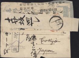 Semeuse Lignée 15c Vert CAD Nevers Nièvre 1905 Taxe Arrivée 8sen Japon + 3 Papillons Sur Devant De Lettre - Storia Postale