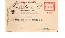1939 EMA Affrancatura Meccanica Rossa Freistempel Macchina FTP Mignon Nr. 10242 Società Chimica Tazzetti Torino - Affrancature Meccaniche Rosse (EMA)