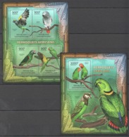 CA858 2012 CENTRAL AFRICA CENTRAFRICAINE FAUNA BIRDS LES PERROQUETS AFRICAINS PARROTS 1KB+1BL MNH - Papagayos