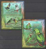 CA858 2012 CENTRAL AFRICA CENTRAFRICAINE FAUNA BIRDS LES PERROQUETS AFRICAINS PARROTS 1KB+1BL MNH - Papegaaien, Parkieten