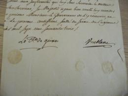 Régiment De Navarre 1763  Pièce Signée Sur Papier Comte De Guines  Vuiblanc Certifications Texte Coupé - Documents