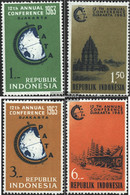 Indonesia 384-387 (complete Issue) Unmounted Mint / Never Hinged 1963 Conference Of Travel Association. - Indonesia