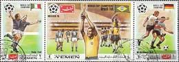 Yemen (UK) 1150A-1152A Triple Strip (complete Issue) Fine Used / Cancelled 1970 Winner Football-WM '70, Mexico - Yemen