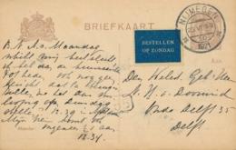 Nederland - 1921 -  7,5 Cent Briefkaart G122 Van Nijmegen - Blauw Bestellen Op Zondag - Naar Delft - Periode 1891-1948 (Wilhelmina)