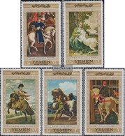 North Yemen (Arab Republic.) 751-755 (complete Issue) Fine Used / Cancelled 1968 Known Paintings With Horses - Yemen