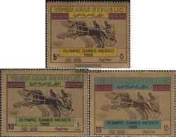North Yemen (Arab Republic.) 742-744 (complete Issue) Fine Used / Cancelled 1968 Olympic. Summer, Mexico - Yemen
