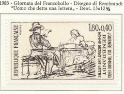 """PIA - FRA - 1983 : Giornata Del Francobollo - """"Uomo Che Detta Una Lettera"""" Opera Di Rembrandt  - (Yv 2258) - Giornata Del Francobollo"""