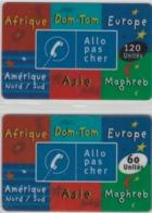 Lot De 2 Cartes Prépayées Différentes - ALLO PAS CHER   -  Prépaid  - (valeur Et/ou Verso  Différent) - Andere Voorafbetaalde Kaarten