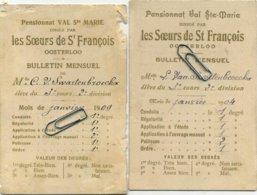 OOSTERLOO  (  Westerlo ) Pensionnat Val St. Marie  1909  -- 2 Items    :   ( 2 Scans ) - Diplomas Y Calificaciones Escolares