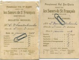 OOSTERLOO  (  Westerlo ) Pensionnat Val St. Marie  1909  -- 2 Items    :   ( 2 Scans ) - Diplômes & Bulletins Scolaires
