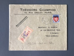 France N°572 Seul Sur Lettre Recommandée 1943 - (B2337) - 1921-1960: Periodo Moderno