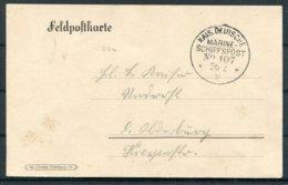1916 Germany Marine Fieldpostcard. Deutsche Marine Schiffspost No 107 Ship Fieldpost - Storia Postale