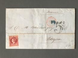 Espagne N°49 Sur Lettre Pour Bayonne 1861 - Ambulant + Taxe 5 Double Trait - (B2343) - Briefe U. Dokumente