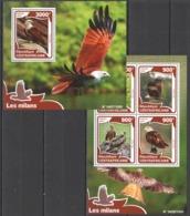 CA044 2016 CENTRAL AFRICA CENTRAFRICAINE FAUNA BIRDS LES MILANS  KB+BL MNH - Adler & Greifvögel
