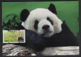 Taiwan(Formosa) Carte Maximum Card -Giant Panda ATM Label #077 Red Imprint - ATM - Frama (vignette)