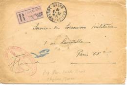 51-cachet Hôpital Aux. Sainte-Croix N°6 De Chalons/Marne  Sur Lettre Recommandée En 1918-cachet De Cire Au Verso.rare - Marcophilie (Lettres)