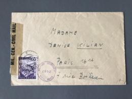 Autriche, Lettre Pour Paris, Cachet De Censure Violet MILITARY CENSORSHIP CIVIL MAILS 2892 - (B2347) - Briefe U. Dokumente