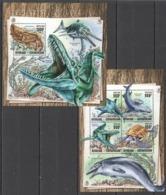 CA082 2016 CENTRAL AFRICA CENTRAFRICAINE FAUNA MARINE LIFE PREHISTORIC ANIMALS KB+BL MNH - Postzegels