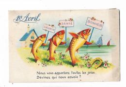 Illustration    Des  3  Poissons  Portent  Les  Voeux  A  Cote  De Le  Mer - April Fool's Day