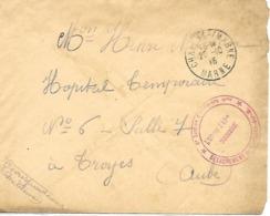51-cachet 6eme Section D'Infirmiers Militaires-Détachement De Chalons/Marne Sur Lettre En 1916 - Postmark Collection (Covers)