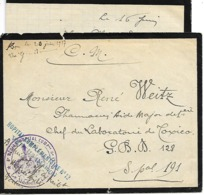 51-cachet Hôpital Comp.N°12 De Vertus Sur Lettre Bordée De Noir Avec Correspondance Bordée Noir En 1917 -très Rare - Marcophilie (Lettres)
